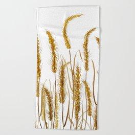 golden wheat field watercolor Beach Towel