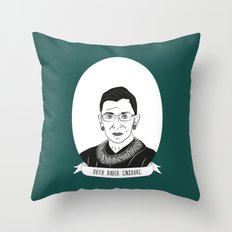 Ruth Bader Ginsburg Illustrated Portrait Throw Pillow