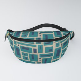 Geometric Rectangles in Navy, Teal and Tan 2 Fanny Pack