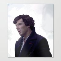 sherlock holmes Canvas Prints featuring Sherlock Holmes by LindaMarieAnson