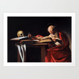 Saint Jerome Writing by Caravaggio (1606) Art Print