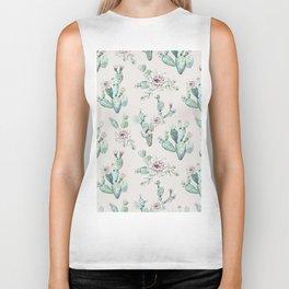 Pretty Cactus Rose Pattern Pale Pink + Green Biker Tank