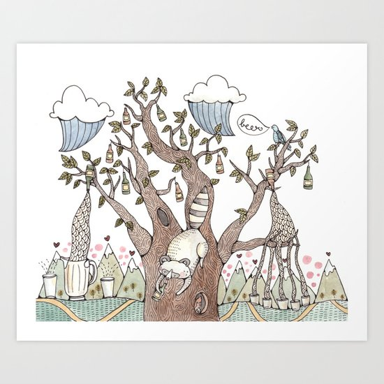 Portland Beer Tree Art Print