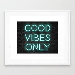 Neon Good Vibes - Teal Framed Art Print