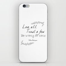Shakespeare Quote iPhone & iPod Skin