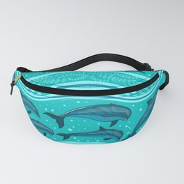 A flock of dolphins in the sea, strips and borders. Marine seamless pattern. Fanny Pack