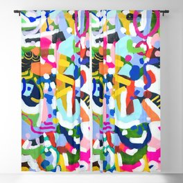 'Emerald City' Original Abstract Painting by Ejaaz Haniff Fun Colorful Shapes Pattern Pastel Rainbow Colors Acrylic Painting Blackout Curtain