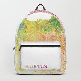 Austin Texas Skyline Impressionistic Splash Backpack