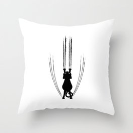 Scratching Cat Throw Pillow