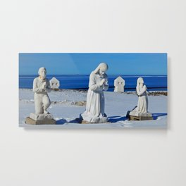 Religious Statues by the Sea Metal Print