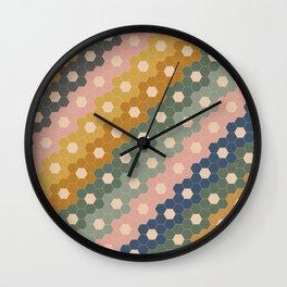 Hexagon Flowers Wall Clock