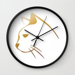Golden cats Wall Clock