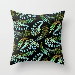 Ferns on black Throw Pillow