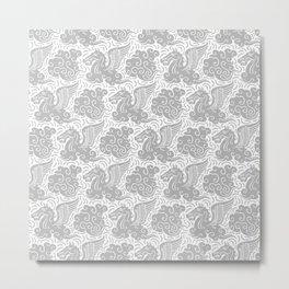 Pegasus Pattern Grey Metal Print