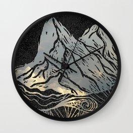 Lino Cut Mountain Paradise Wall Clock