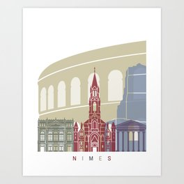 Nimes skyline poster Art Print