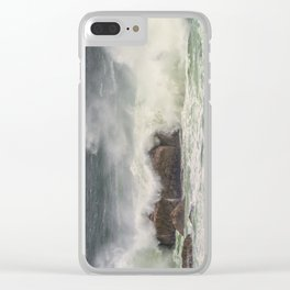 Ocean wave's crashing on rocks Clear iPhone Case