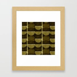 """Retro Olive green Chained Circles"" Framed Art Print"