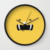 power ranger Wall Clocks featuring Yellow Ranger Remix by hellostranger