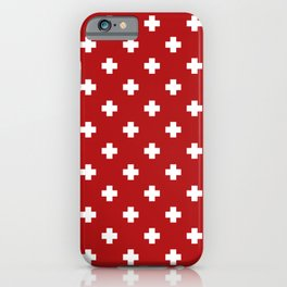 White Swiss Cross Pattern on Red background iPhone Case