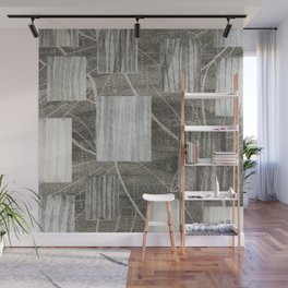Nature Print Neutral Leaves and Squares Wall Mural