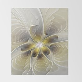 Gold And Silver, Abstract Flower Fractal Throw Blanket