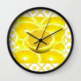 Yellow Grapefruit Pattern Art Wall Clock