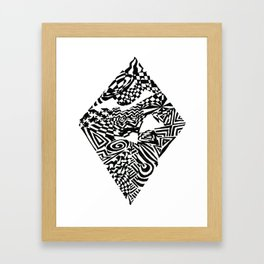 Diamond, Black/White Abstract (ink drawing) Framed Art Print