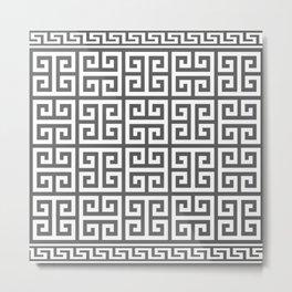 Greek Key (Grey & White Pattern) Metal Print