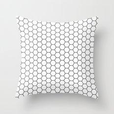 White Hex Throw Pillow
