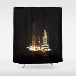 Oil Rig At Sea At Night Shower Curtain