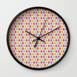 Modern colorful artistic teal pink orange easter eggs pattern Wall Clock