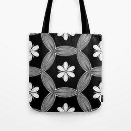 black and white hippie flower pattern Tote Bag