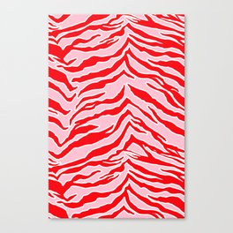 Tiger Print - Red and Pink Canvas Print