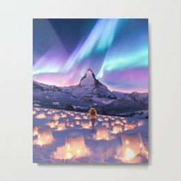 Snow Lanterns Metal Print