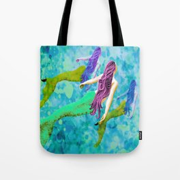 swimming deep with my pod Tote Bag