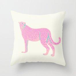 PINK STAR CHEETAH Throw Pillow