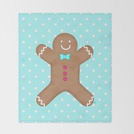 Yummy Gingerbread Man Cookie Throw Blanket