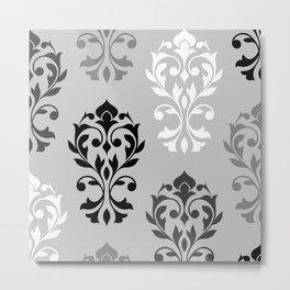 Heart Damask Art I Black White Greys Metal Print