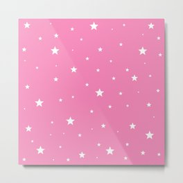 Scattered Stars on Pink Metal Print