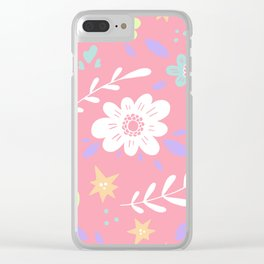 Pink Pattern with Flowers and butterflies Clear iPhone Case