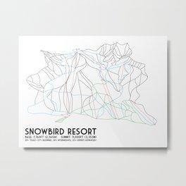 Snowbird, UT - Minimalist Trail Map Metal Print
