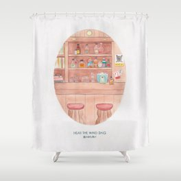 Haruki Murakami's Hear the Wind Sing // Illustration of a Japanese Bar in Watercolour and Pencil Shower Curtain