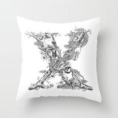 Letter 'X' Monochrome Throw Pillow