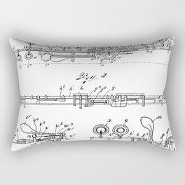 Flute Patent - Musician Art - Black And White Rectangular Pillow