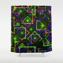 Bright diamonds and squares with highlights in the intersection on a green background. Shower Curtain