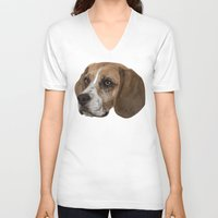 beagle V-neck T-shirts featuring Beagle by Goncalo