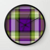 plaid Wall Clocks featuring Plaid by Kevin Rogerson