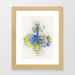 What is life? What is Death? n°10 Mantis / Mushroom Watercolor Painting Framed Art Print