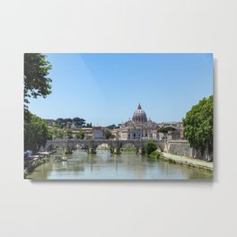 Sant'angelo bridge and St. Peter's Basilica - Rome, Italy Metal Print